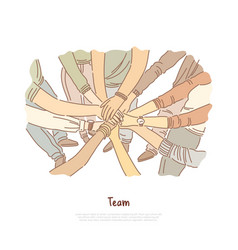 hand stack team bonding exercise vector image