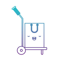 Hand truck with kawaii shopping bag in degraded vector