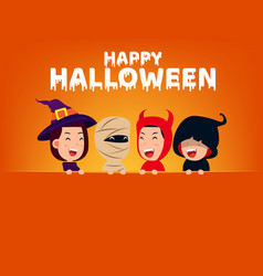 happy halloween party group cute in halloween vector image