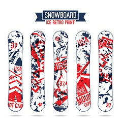 Ice retro print for snowboard vector image