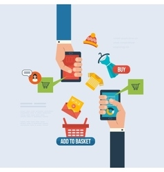 Icons for internet marketing delivery and online vector image