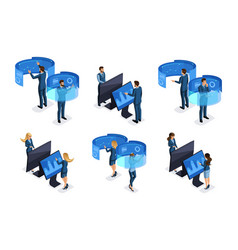 Isometric businessmen front view and rear view vector