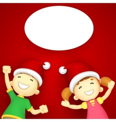 Kids enjoying Christmas vector image