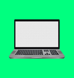 Laptop with a blank screen with a white vector