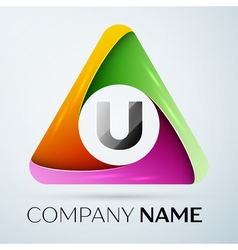 Letter u logo symbol in the colorful triangle vector