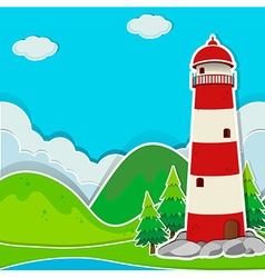 Lighthouse on the ground vector image