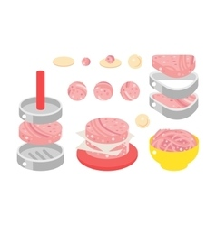 Meat products flat design vector image