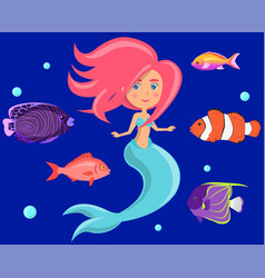 Mermaid with group of colored fish and swims vector
