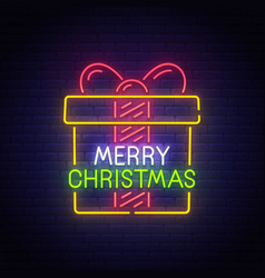 merry christmas neon sign bright signboard vector image