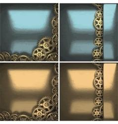 Metal background with cogwheel gears vector