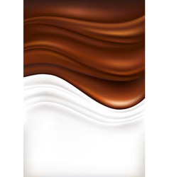 milk splash on dark chocolate background vector image