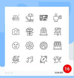 modern set 16 outlines and symbols such as vector image