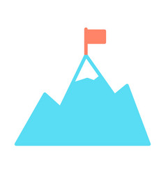 mountains with flag on peak icon goal achievement vector image