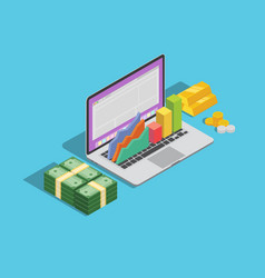 online business technology with laptop and graph vector image