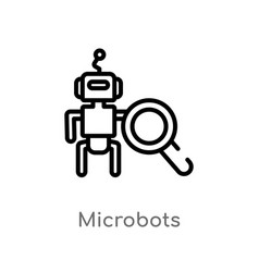 Outline microbots icon isolated black simple line vector