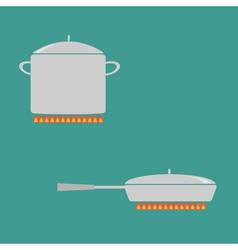 Pan and saucepan set on fire Coocing icon Flat vector image