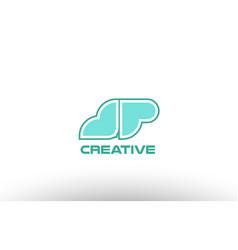 Pastel green alphabet letter jp j p combination vector