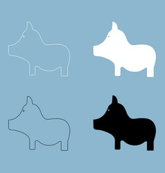 pig the black and white color icon vector image