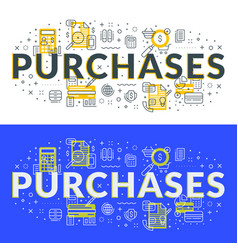 purchases flat line concept for web banner and vector image