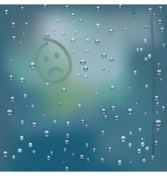 rainy window and sad face vector image