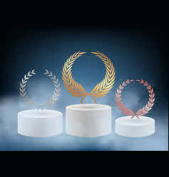 realistic award podium 3d pedestal with gold vector image