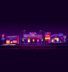 roadside motel tourist accommodation at night time vector image