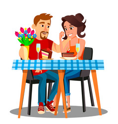 Romantic dinner for a young married couple at home vector