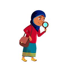Schoolgirl scientist research by magnifier vector