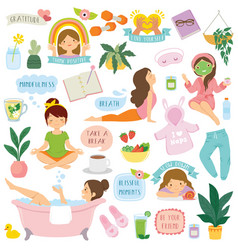 Self care and well-being clipart set vector