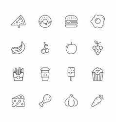 set food and fruits lines icons vector image