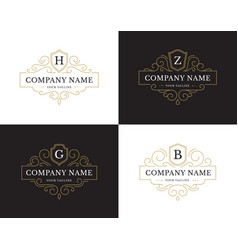 set four luxury logo in vintage style vector image