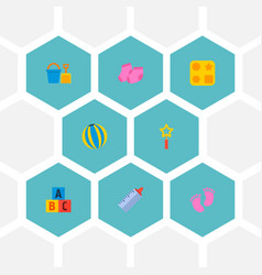set of baby icons flat style symbols with bucket vector image