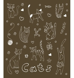 Set of hand drawn cats White silhouettes on black vector