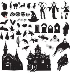 Set silhouettes symbolizing halloween vector