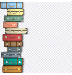 set suitcases on transparent background vector image