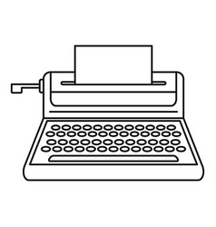 Small typewriter icon outline style vector
