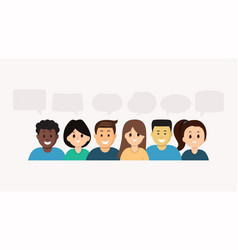 smiling multiethnic people with speech bubbles vector image