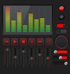 sound equalizer with slider and media player vector image