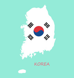 South korea map flat icon with long shadow eps10 vector