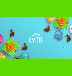 spring easter card of chocolate bunny and eggs vector image