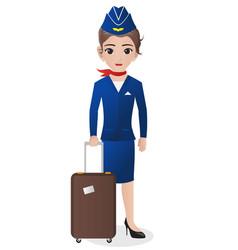 Stewardess holding suitcase vector