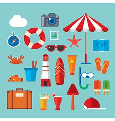 summer and travel flat icon vector image