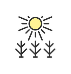 sun shines on field flat color line icon vector image