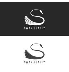 Swan logo mockup beauty salon bird emblem vector image