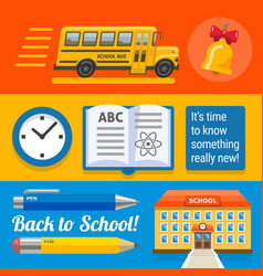 three wide school designs with bus book buinding vector image