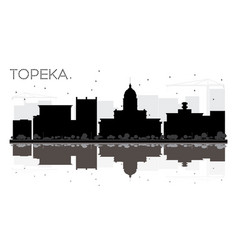 Topeka kansas usa city skyline black and white vector