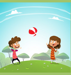 two children playing with a ball in the park vector image