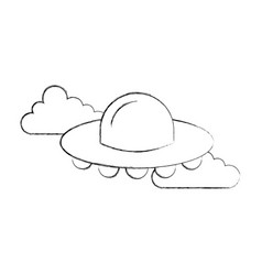 ufo flying clouds saucer technology science vector image vector image