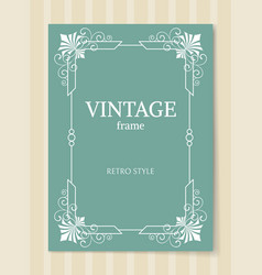 vintage frame retro style white border isolated vector image