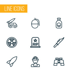 warfare outline icons set collection of bombshell vector image vector image